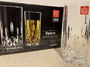 """Boxed Set of 6–RCR """"Opera"""" Luxion Crystal Glass Tumblers (11.83 OZ) New"""