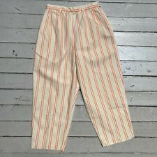 VTG 1960s WHITE STAG Orange Stripe Side Zip Capri Peddle Pusher Cropped Pants XS