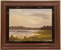 """Vintage Oil Painting on Board Lake Landscape Signed Framed Art (17.5"""" x 22"""")"""