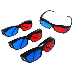 4pcs/set Red Blue 3D Glasses Frame for Dimensional Movie DVD Game EjzT TuU LD