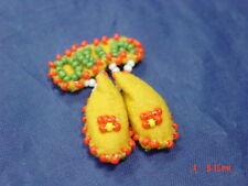 Vintage Hand Made Beaded Pin Broach Okia Moccasins Felt Decorative footwear