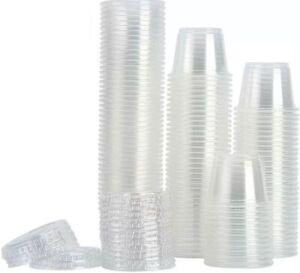 80 Pcs 1oz Plastic Cups With Clear Lids Disposable Jello Shots Sauce Condiments