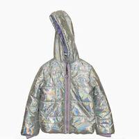 New Me Jane Little Girls Winter Puffer Jacket Size 4 5/6 6/6X Silver MSRP $70.00