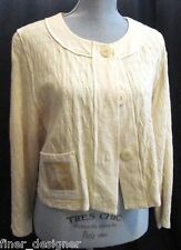 Phyllis Maxx top cream Artsy pucker knit jacket cardigan button Bolero M VTG NEW