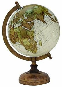 Globe World Map Antique Globes Beautiful Table Decor Home Office Beige 12.5 inch