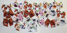 50 SM Halloween Dog Bows Hand Made Dog Grooming Bows top quality ribbons USA