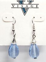 Visage Vintage Earrings Dangling Drop Blue Glass Bead Fish Hook New Old Stock