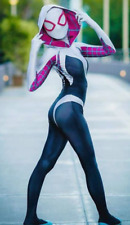 Gwen Stacy Spider-Gwen Lycra Zentai Cosplay Costume w/ Attached Hood, Mask/Lens