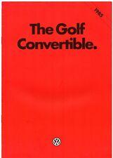 Volkswagen Golf Cabriolet Mk1 1984-85 UK Market sales brochure GL GTI 1800