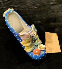 Vintage Porcelain Ladies High Heel Shoe Blue with Flowers & Raised Polkadots
