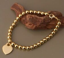 Stunning 24K Gold Plated HEART Tag Bracelet Bangle Classic Love Pendant Charm