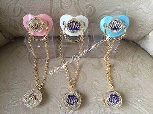 Baby bling dummy and chain with clip new romany style