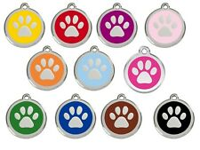 RED DINGO Paw Print Engraved Dog ID identity Tags / discs ALL COLOURS (1PP)