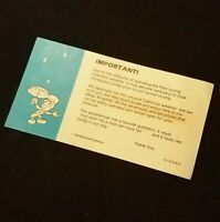 Disneyland Rain Warning Handout Card - Featuring Jiminy Cricket