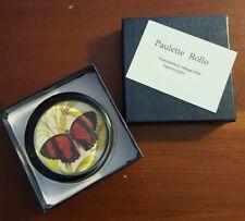 "Butterfly Paperweight Glass Paulette Rollo 2-2/3"" D Felt Bottom in Green Leaves"