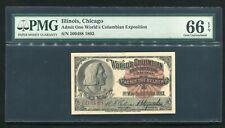 "1893 WORLD'S COLUMBIAN EXPOSITION TICKET CHICAGO, IL ""COLUMBUS"" PMG UNC-66EPQ"