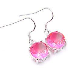 Jewelry Store Round Cut Bi Colored Tourmaline Gems Silver Dangle Hook Earrings