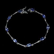 Sterling Silver Bracelet Blue Tanzanite Genuine Gem and Silver Bar 7 1/4 Inch