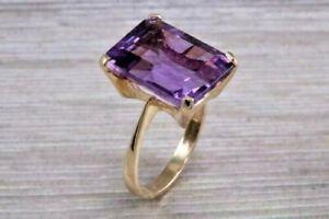 2Ct Emerald Cut Amethyst Unique Women's Engagement Ring 14K Rose Gold Finish