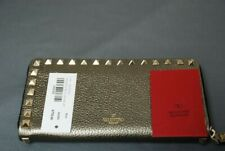 NEW VALENTINO metallic gold Rockstud zip around wallet - guaranteed authentic