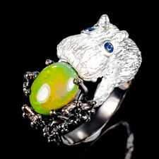 Beauty Rainbow10x8mm Natural Black Opal 925 Sterling Silver Ring Size 8/R119020