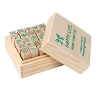25xHappy Life diary stamp DIY rubber stamp wood stamp with wooden box Y6U8