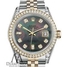 Rolex Stainless Steel and Gold 36 mm Datejust Watch Black MOP 8+2 Diamond Dial