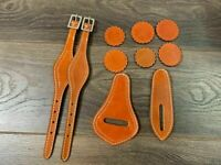 10 Pc Brown Leather Saddle Replacement Repair Kit Billet Keeper Hobbles Conchos