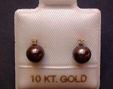 Exclusive Perlen & Diamant Ohrstecker - antrazith - in 10 Kt. Gold - 417 - TOP !