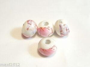 10 pcs x Flat Round Porcelain Beads : Porc109 Abstract