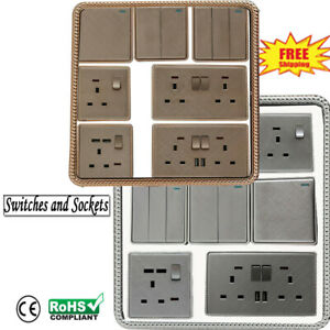 1/2/3 Gang Wall Light Switches with USB Socket TEXTURED Modern Finish Screw Less