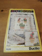 "New Bucilla Colorpoint Western Cactus Pillow finished 16x16"" 1992 Kit Nip"