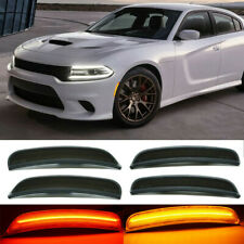 4Pcs Front Rear LED Side Marker Light Smoked Lens For Dodge Challenger 2015-2019