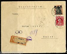 DANZIG 1921 POST WW I REGISTERED & CENSORED COVER TO GERMANY FRANKED SC#25 & 52