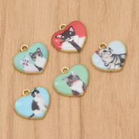 Cartoon Enamel Charms Cat Animal Alloy Heart Pendant Jewelry Making DIY Craft