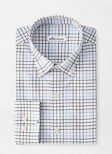 NEW PETER MILLAR L/S SIMON COTTON-BLEND Sport Woven Shirt, MEDIUM, NAVY BLUE