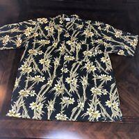OP Ocean Pacific Sport Floral Hawaiian !00% Cotton Shirt, Size Large