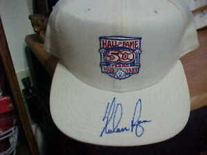 NOLAN RYAN TEXAS RANGERS SIGNED HOF FIFTY YEARS 1939-1989 WHITE ADJUSTABLE CAP