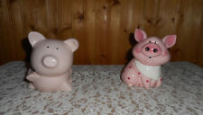 2 CUTE PINK PIG PIGGY BANK ONE WITH POLKA DOTS
