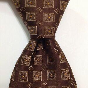 HUGO BOSS Mens 100% Silk Necktie ITALY Designer Geometric Brown/Gold Classic EUC