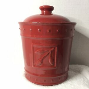 """Signature Houseware Sorrento Kitchen Canister Stoneware Red Paprika Color 8"""""""