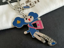 Coach Poppy Chan Blueberry Girl Paved Crystal Keychain Fob Key Ring Charm NWT