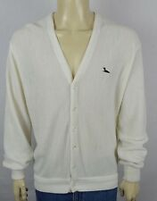 Vtg Winona Knits Off-White 6 Btn Cardigan Sweater Mens Large Made in Minnesota