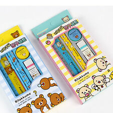 1set Rilakkuma Stationery Set Wooden Pencil Eraser Sharpener Ruler School Supply