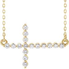 Diamante LATERAL CRUZ 45.7cm Collar en 14k ORO AMARILLO ( 1/3ct. TW