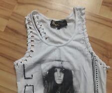❤ Top MOGUL shirt gr  XS  32 34 schnee weiß print schwarz neuwertig luftig ❤