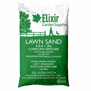 25kg Fine Lawn Sand Grass/Turf Hardener Ferrous Sulphate treats 360sqm