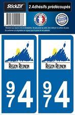 2 STICKERS DEPARTEMENT 974 LOGO PLAQUE IMMATRICULATION BLASON REGION OUTRE MERS