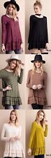Easel Tiered Ruffle Hem Tunic Top Long Sleeve Scoop Neck Boho Chic ET2088