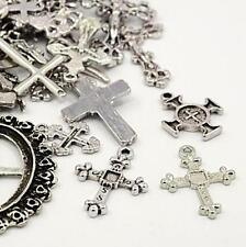 TIBETAN SILVER CROSS CHARMS PENDANTS 30g RANDOM MIX shape
